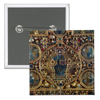 O d'Oro de Pala, detalhe de cristo na majestade co Bóton Quadrado 5.08cm
