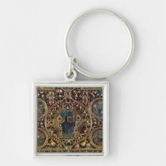 O d'Oro de Pala, detalhe de cristo na majestade co Chaveiro Quadrado Na Cor Prata