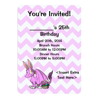 O dragão peludo de Bubblegum SD da páscoa convida Convite 12.7 X 17.78cm