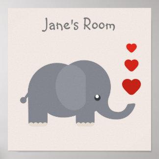 O elefante bonito do miúdo com nome customisable