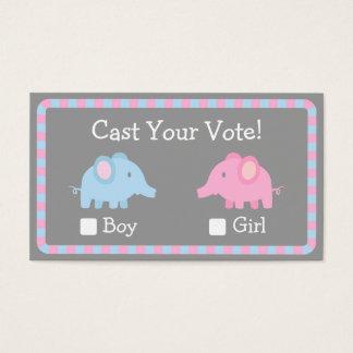 O elefante do bebê, género revela o partido, voto cartão de visitas