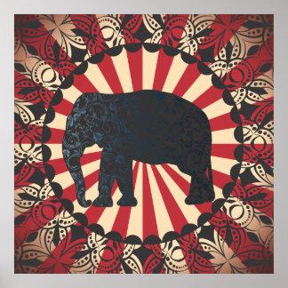 O elefante do circo do vintage de StellaRoot livra Pôster