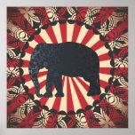 O elefante do circo do vintage livra o mandarino posteres
