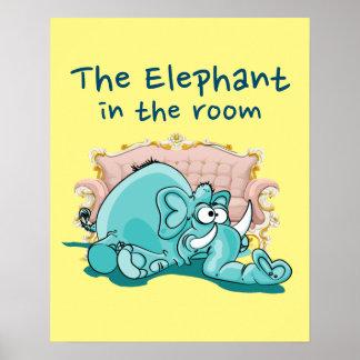 O elefante nos desenhos animados da sala poster