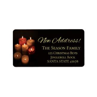 O endereço novo Candles a etiqueta do Natal