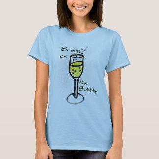 o esboço do champanhe traz no borbulhante camiseta