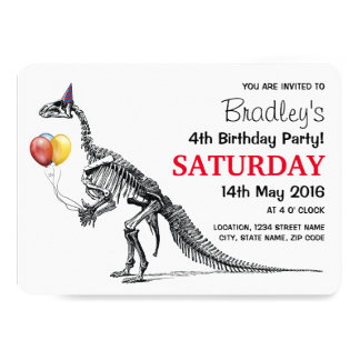 O esboço do dinossauro Balloons a festa de Convite 12.7 X 17.78cm