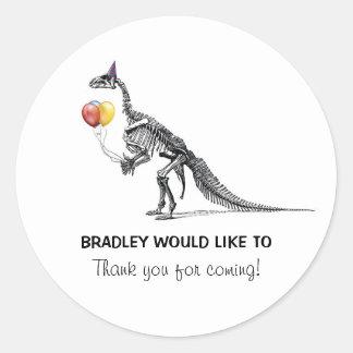 O esboço do dinossauro Balloons etiquetas da festa Adesivo