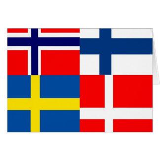 O escandinavo embandeira o quarteto cartão