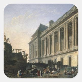 O esclarecimento da colunata do Louvre, 1764 Adesivo Quadrado