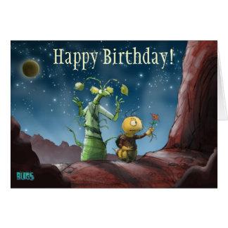 O espaço desinseta o cartão de aniversário da