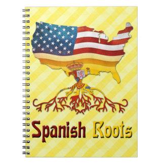 O espanhol americano enraíza o bloco de notas cadernos espiral