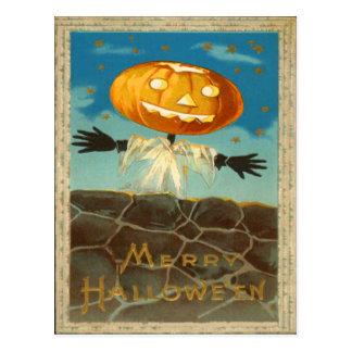 O espantalho da lanterna de Jack O Stars a abóbora Cartão Postal