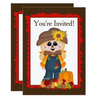 O espantalho da menina da queda adiciona o convite