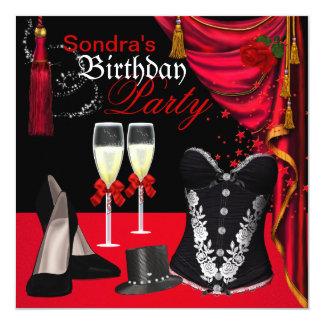 O espartilho preto vermelho de Champagne calça Convite Quadrado 13.35 X 13.35cm