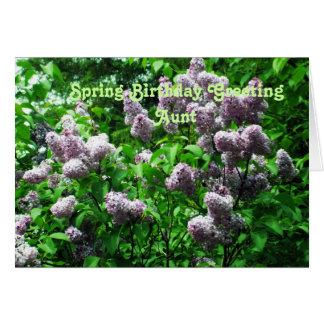 O Especial Aniversário-Lilac Bush da tia Cartão