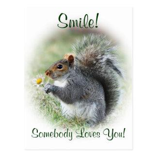 O esquilo de sorriso ama-o cartão