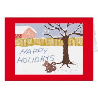 """O """"esquilo diz boas festas """" cartão comemorativo"""