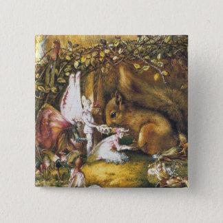 O esquilo ferido bóton quadrado 5.08cm
