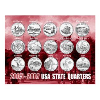 O estado dos EUA divide (moedas) 2005 - 2007 Cartão Postal