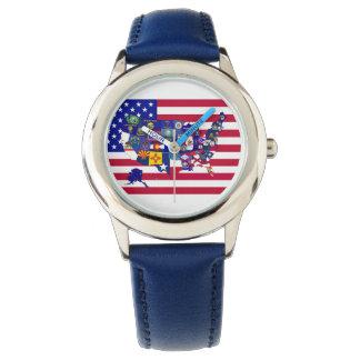 O estado dos EUA embandeira o relógio do mapa