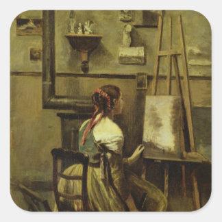 O estúdio de Corot Adesivo Quadrado