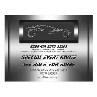 O evento de auto vendas convida - o metal do cartão postal