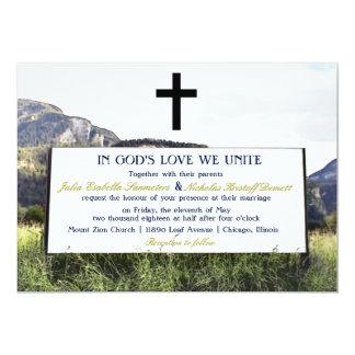 O evento original do casamento da montanha do convite 12.7 x 17.78cm