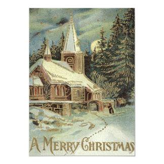 O Evergreen da igreja Stars a neve do inverno Convite 12.7 X 17.78cm