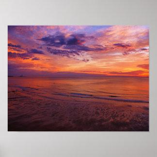 O farol no poster do nascer do sol