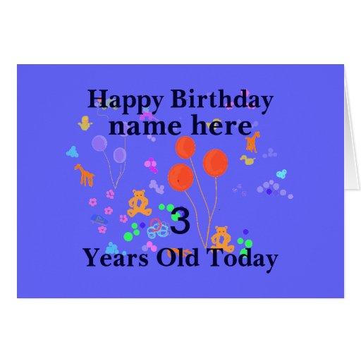 O feliz aniversario adiciona a criança de 3 anos c cartao