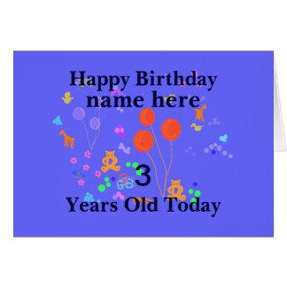 O feliz aniversario adiciona a criança de 3 anos cartão comemorativo