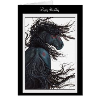 O feliz aniversario aprecia o cartão do cavalo por