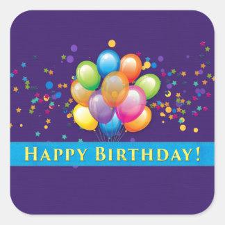 O feliz aniversario Balloons o roxo Adesivo Quadrado