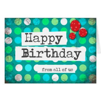 o feliz aniversario carda a empresa azul vermelha cartão comemorativo