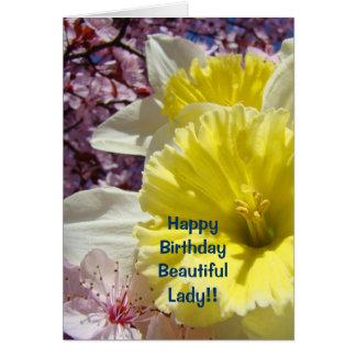 O feliz aniversario carda a senhora bonita cartão comemorativo
