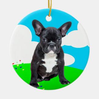 O feliz aniversario do filhote de cachorro do ornamento de cerâmica redondo