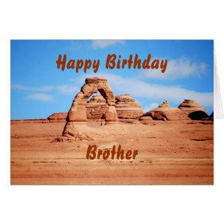 O feliz aniversario do irmão, arco delicado, cartão comemorativo