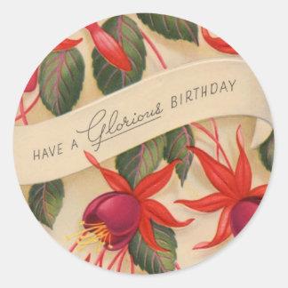 O feliz aniversario do vintage floresce a etiqueta adesivo em formato redondo