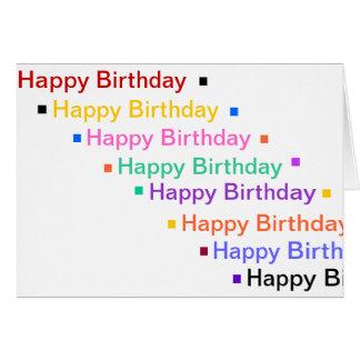 O feliz aniversario no arco-íris colore o cartão