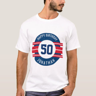 O feliz aniversario ostenta listras nome e idade camiseta