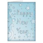 O feliz ano novo 2010 - Design azul com estrelas Cartões