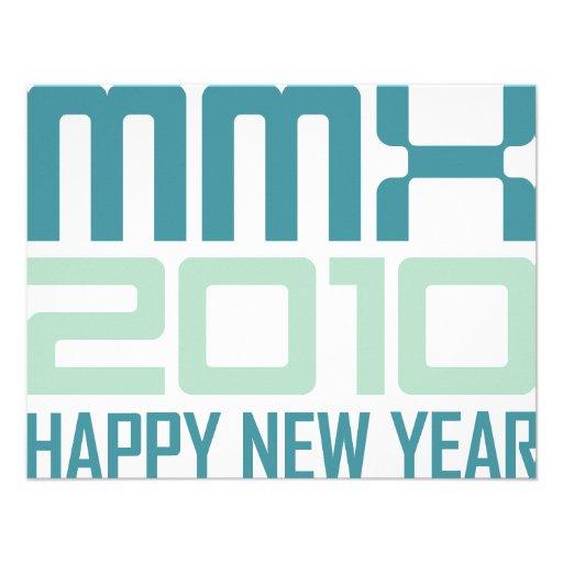 O feliz ano novo 2010 (MMX) Convites Personalizados