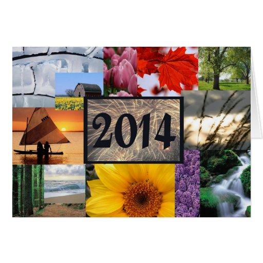 O feliz ano novo 2014 cartão comemorativo