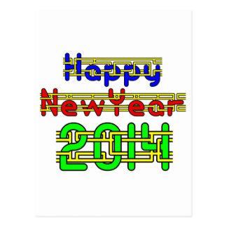 O feliz ano novo 2014 cartão postal