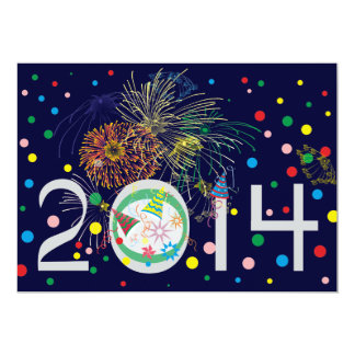 O feliz ano novo 2014 convite 12.7 x 17.78cm