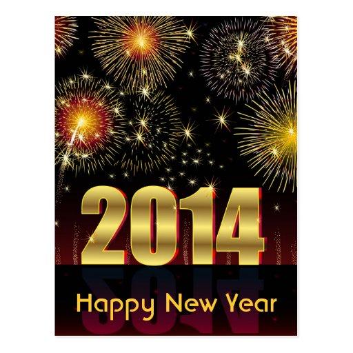 O feliz ano novo 2014 do cartão cartões postais