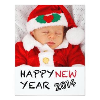 O feliz ano novo 2014% pipe% cartão com fotos de convite 10.79 x 13.97cm
