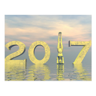 O feliz ano novo 2017 do zen - 3D rendem Cartão Postal