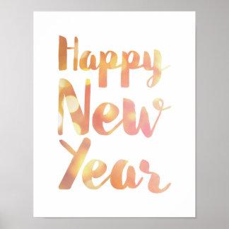 O feliz ano novo - aguarela - poster branco pôster